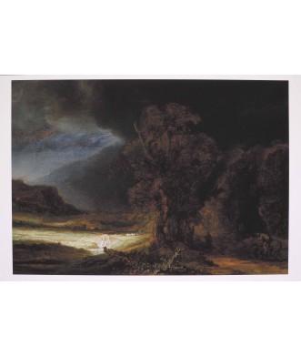 Reprodukcja - Krajobraz z miłosiernym Samarytaninem, Rembrandt